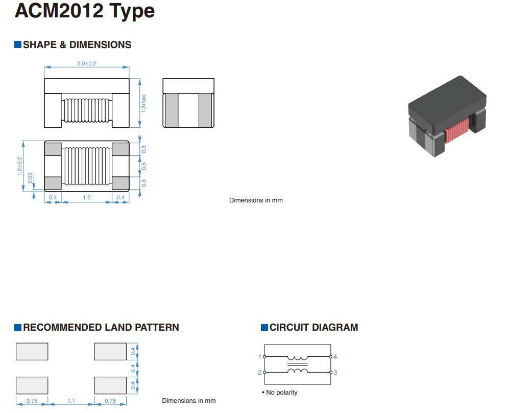 SMD 0805 zavarszűrő imp.100MHz 90ohm, 50V 0.4A 0.19ohm ACM2012-900-2P-T