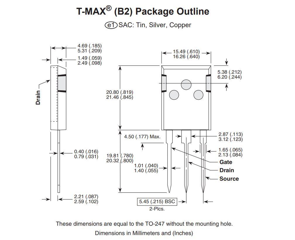 N-MOS 650V 95A/282Ap. 833W 0.3R (61A) APT94N65B2C6