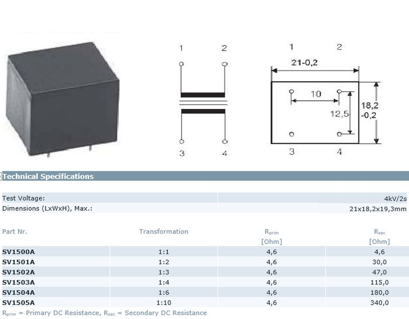 TRAFO AF 1:2 hangfrekvenciás (nyákba ültethető) TRAFO SV1501A