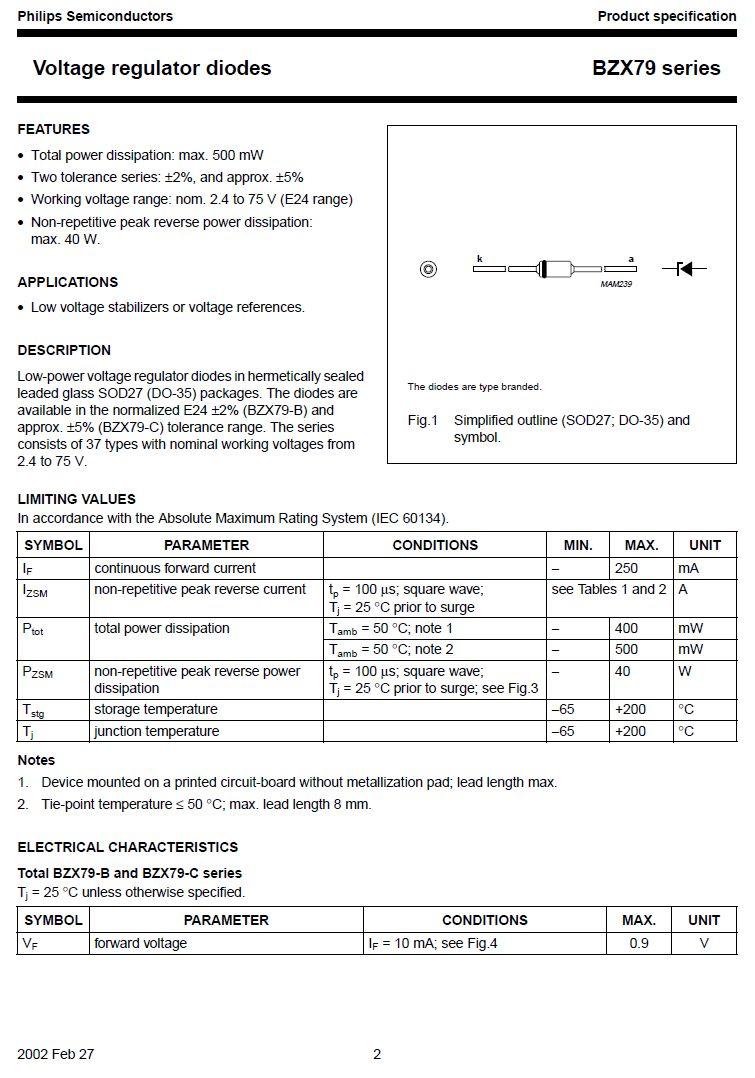 SI-Z zener dióda 43V 5% BZX79C43 0.5W 43V