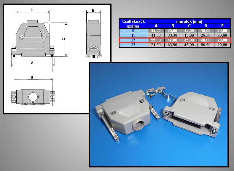 D-SUB 25p. műanyag ház kézi csavaros (szürke) CS-DS025HK/S