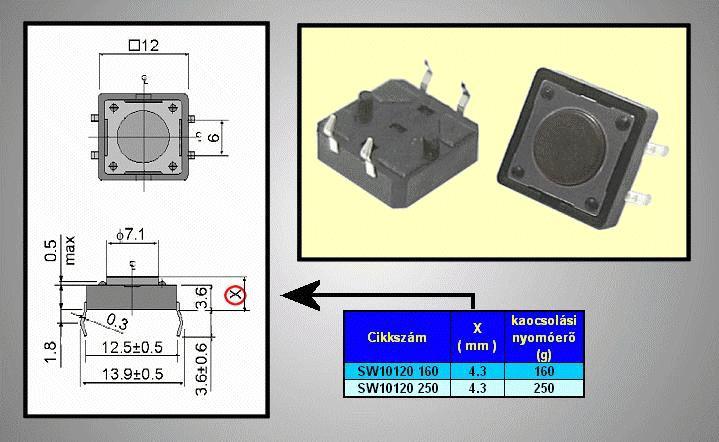 Mikrokapcsoló 12x12mm 4p g.=0.8m 160g SW10120 160