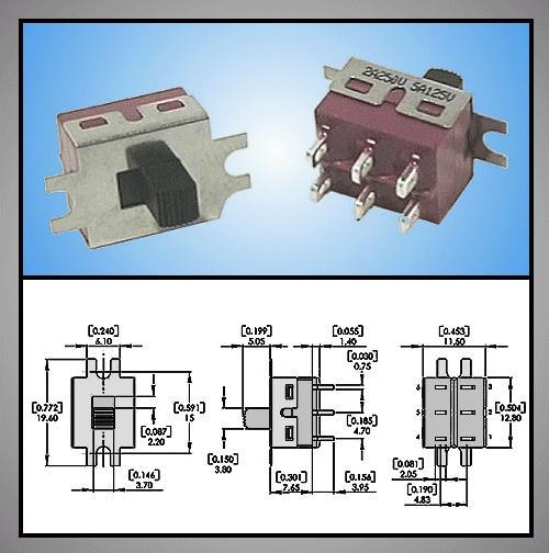 Tóló kapcsoló PCB 2x3p.12.7x11mm (2 áramkörös) SW18202