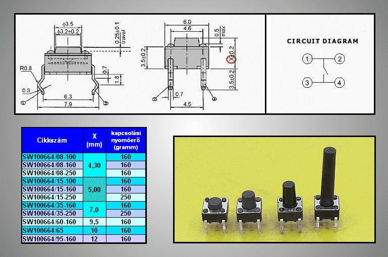 Mikrokapcsoló 6x6mm 4p. gomb:3.5mm (nyomó erő:160g) SW100664/035-160