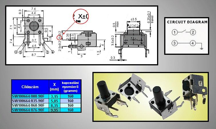 Mikrokapcsoló 6x6mm 4p. 90° gomb:6.0mm (nyomó erő:160g) SW100664/060-90F