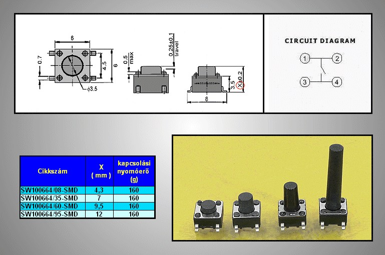 Mikrokapcsoló 6x6mm 4p. SMD gomb:9.5mm (nyomó erő:160g) SW100664/095-SMD