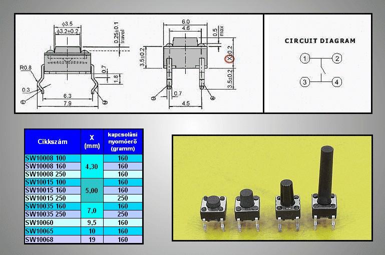 Mikrokapcsoló 6x6mm 4p. gomb:15.5mm (nyomó erő:160g) SW100664/155