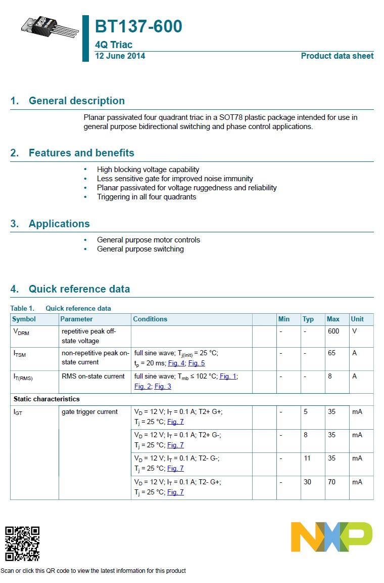 TRIAC 600V 8A/65Ap Igt/Ih<35/<20mA BT137-600