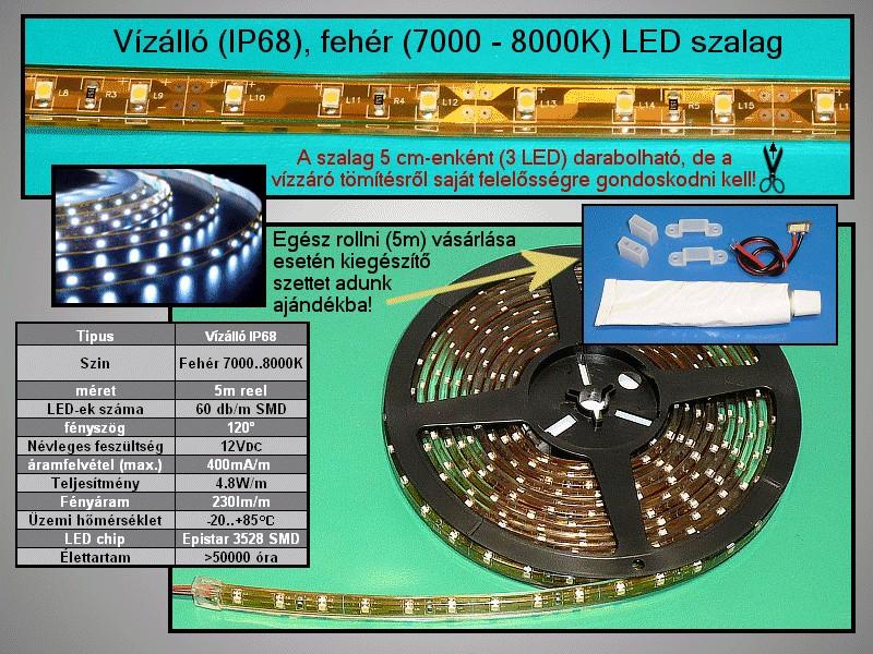 IP68 vízálló 3528 LED szalag, hidegfehér (60LED/m) RIBBON-WC003W