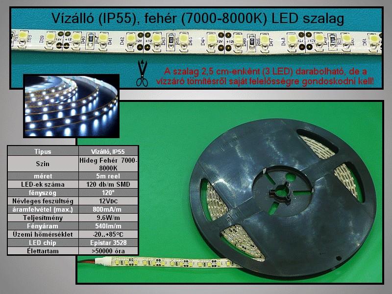 IP55 vízálló 3528 LED szalag, hidegfehér (120LED/m RIBBON-WC120W