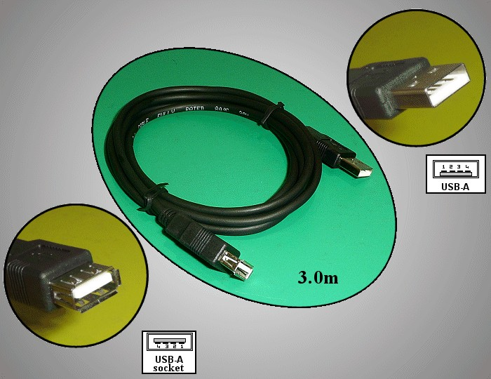 USB2.0-A dugó - USB2.0-A aljzat, kábel hossz. 3m (toldó kábel) CABLE USB-MFH3