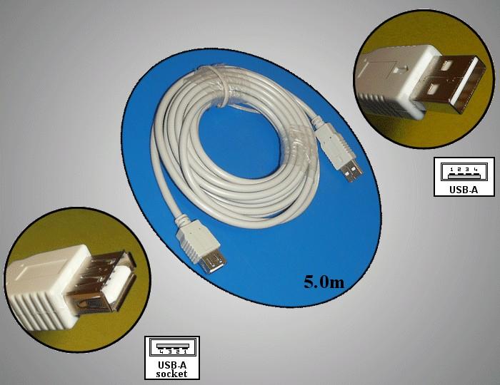USB2.0-A dugó - USB2.0-A aljzat, kábel hossz. 5m (toldó kábel) CABLE USB-MFH5