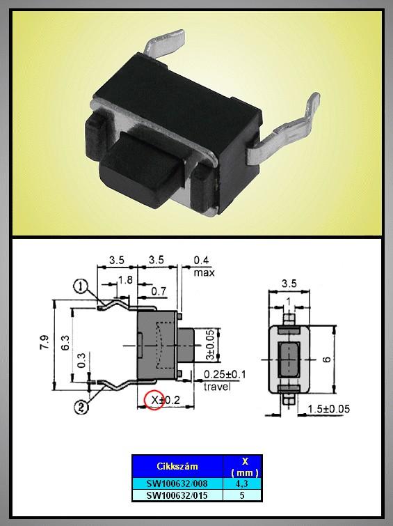 Mikrokapcsoló 6x3.5mm 2p. gomb:0.8mm (nyomó erő:180g) SW100632/008