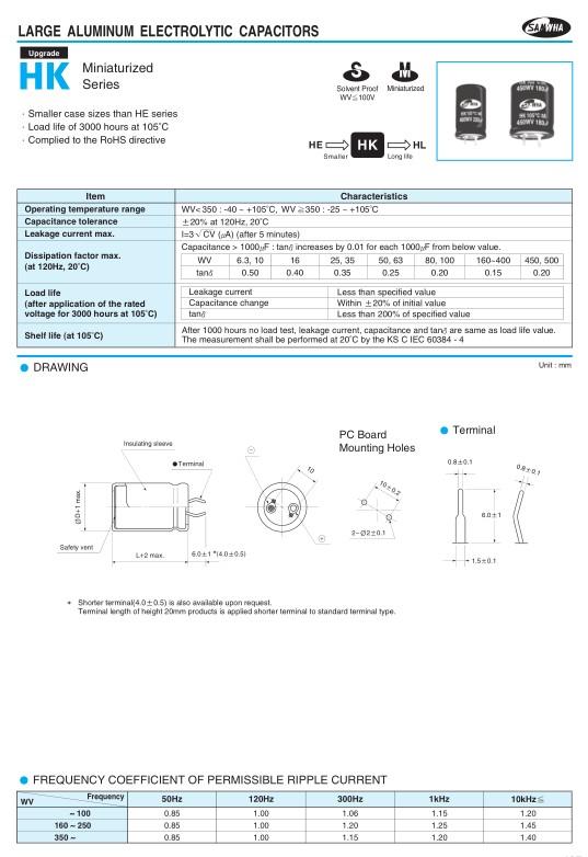 ELKO 100uF 450V 105°C 22x35 Snap-in 100/450P-105 22
