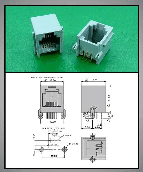 Telefon aljzat RJ12 6/6 MAXI műanyag szürke CSAT-T013/G