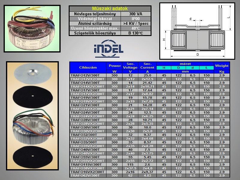 TRAFO 230VAC / 2x12VAC 2x12,5A 300W TRAFO12VX2/300T