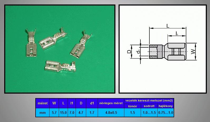 Kábelsaru 4.8/0.5 hüvely 0.5-1.0mm2 CS-K1480510/SN