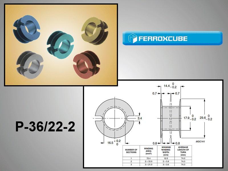 Csévetest FERRIT fazékvasmaghoz, kivezetés nélkül FER-P36/22-B