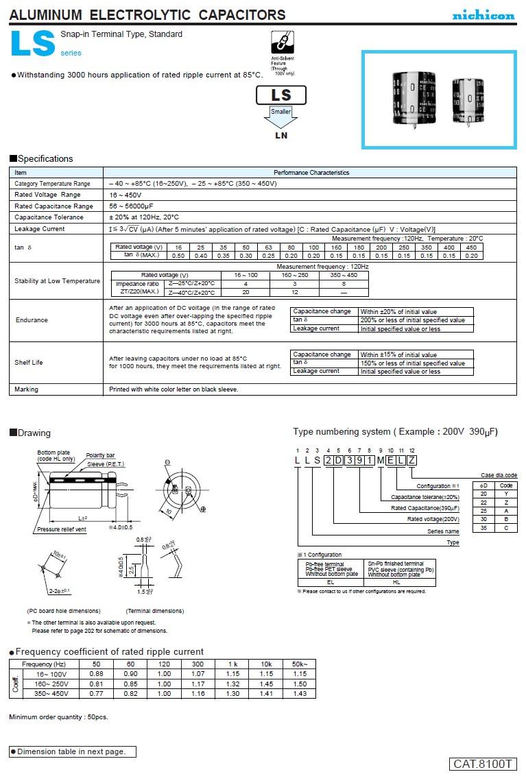 ELKO 270uF 400V 85°C 25x40 2p. Snap-In 270/400P
