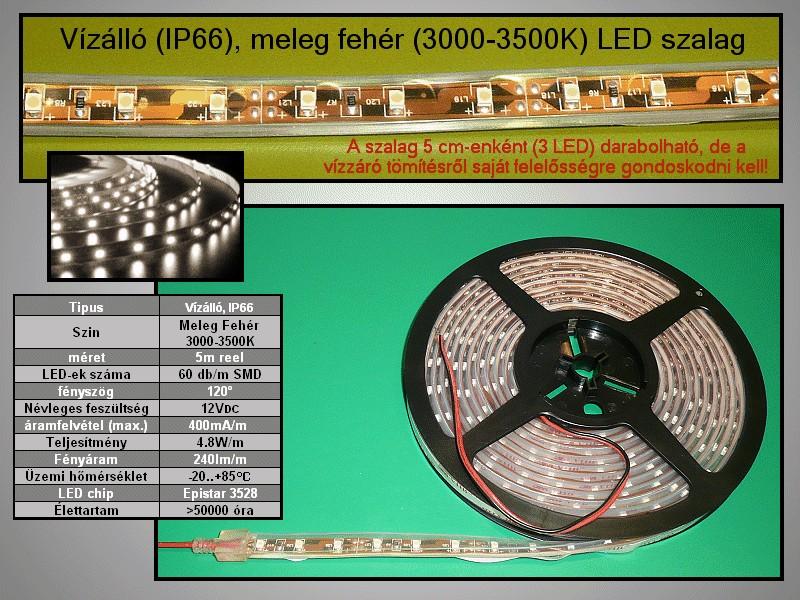 IP66 vízálló 3528 LED szalag, melegfehér (60LED/m) 10mm széles RIBBON-WW002W