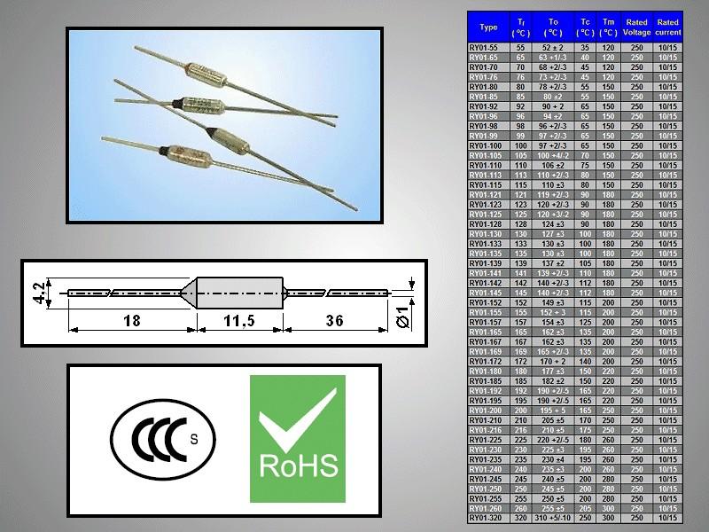 Hőbiztosíték TF 84°C 250V 10A axiális TZ D-084