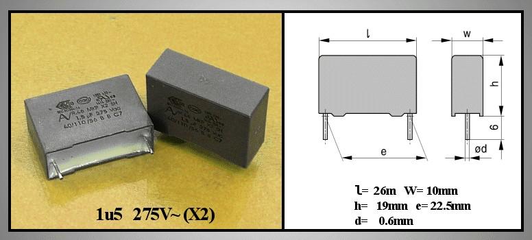 X2 kondenzátor 1.5uF 275VAC 20% RM-22.5 C 1U5 AC275 X2 22