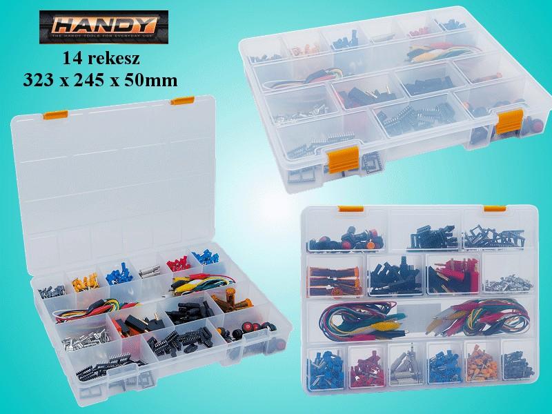 Műanyag tároló doboz, 14db fix rekesz BOX-002