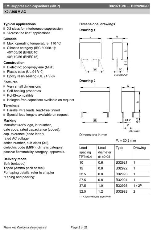 X2 kondenzátor 1.5uF 305VAC 20% L:22.5mm C 1U5 AC305 X2