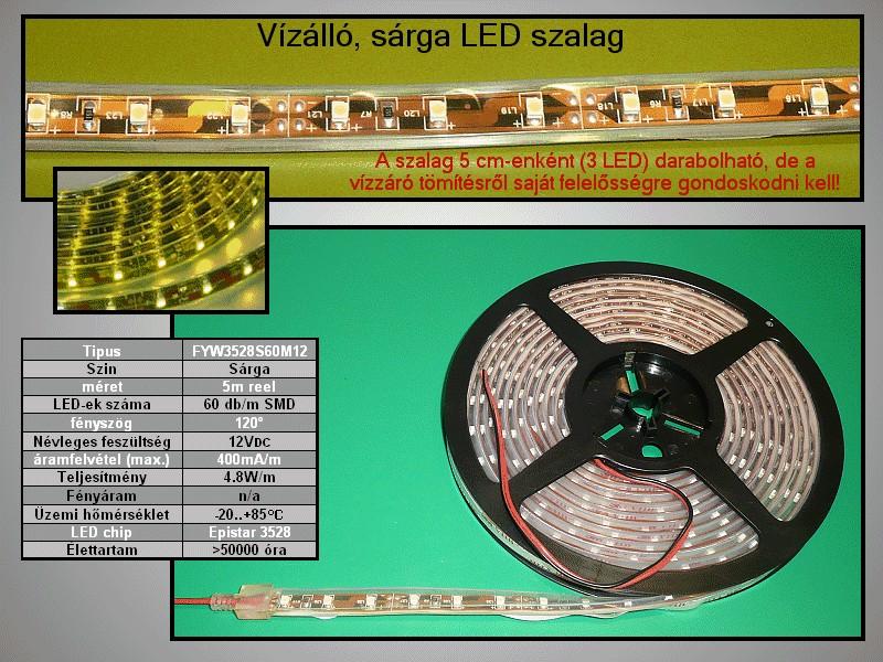 IP66 vízálló 3528 LED szalag, sárga (60LED/m) RIBBON-Y002W