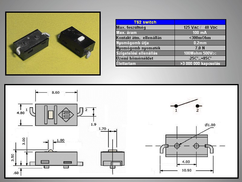 SMD mikrokapcsoló 8.6x4.8mm 2lábú gomb:0.5 SW1000S862 -