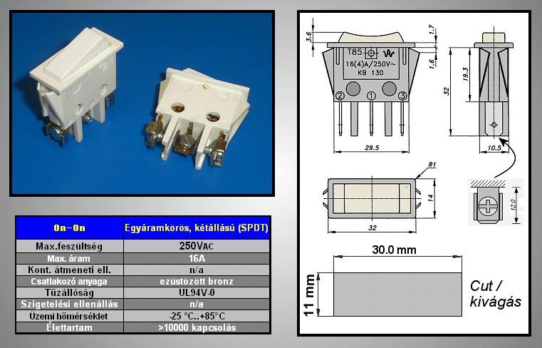 Billenő csontszín 1 áramkörös ON-ON (csavaros) SW2120CS