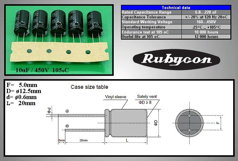 ELKO 10uF 450V 105°C hosszú élettartam, álló, 13x20mm 10/450P-105 R -