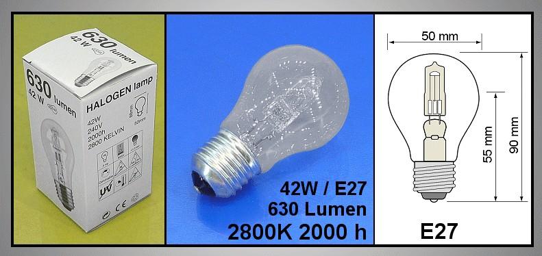 HALO E27 240V 42W Energia oszt.(C) izzólámpa LAMP 0030/42 -