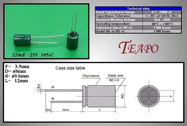 ELKO 220uF 25V 105°C 8x11 Low-ESR 220/25P-105ESR T -