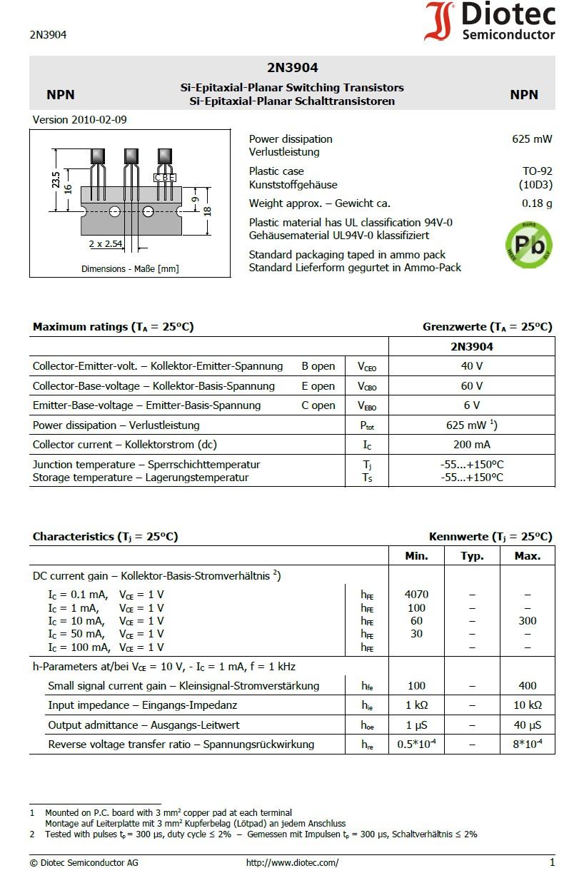 SI-N 60/40V 0.1A 0.5W 250MHz hFE:100 2N3904 -