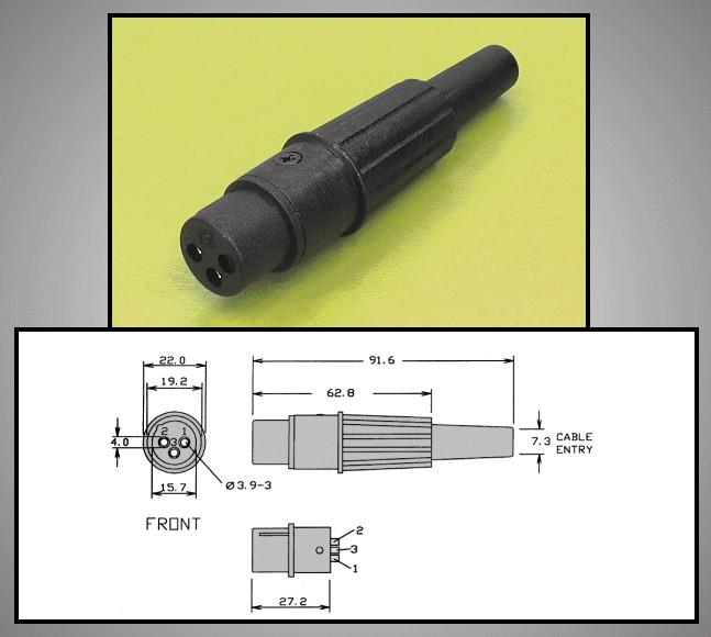 XLR aljzat, fekete 3p. 16A (lengő) XLR-3CP3003 -