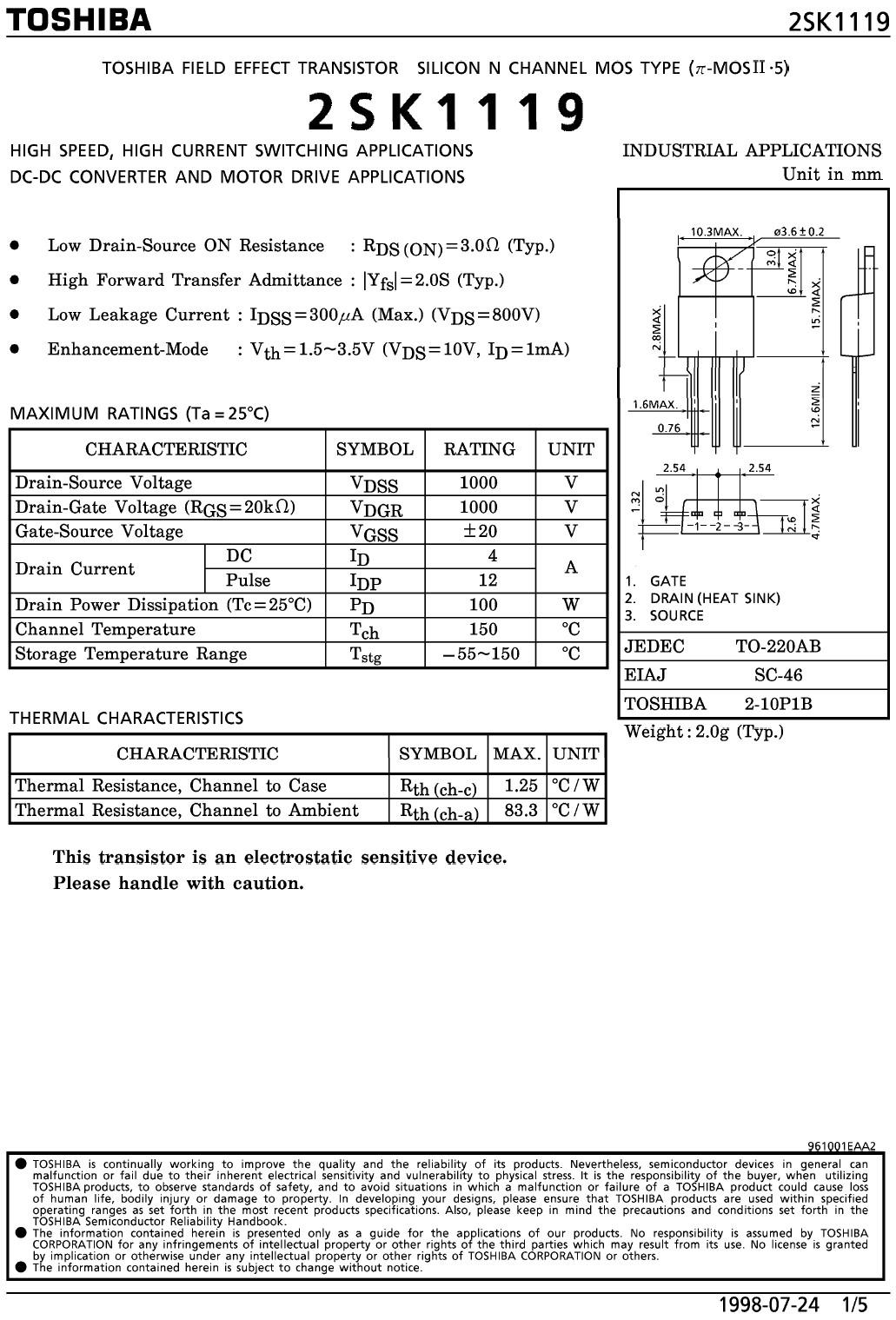 N-MOS 1000V 4A/12Ap 100W 3R 2SK1119 -