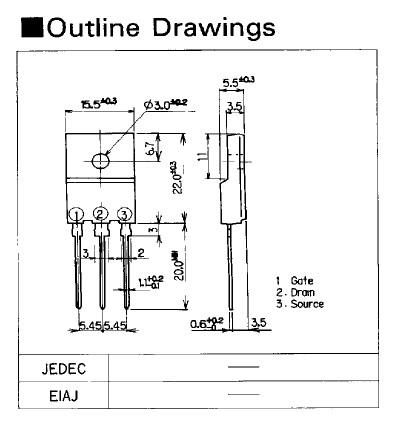 Tranzisztor N-MOSFET 900V 8A/23Ap 100W 1.5R 2SK1217 2SK1217 -