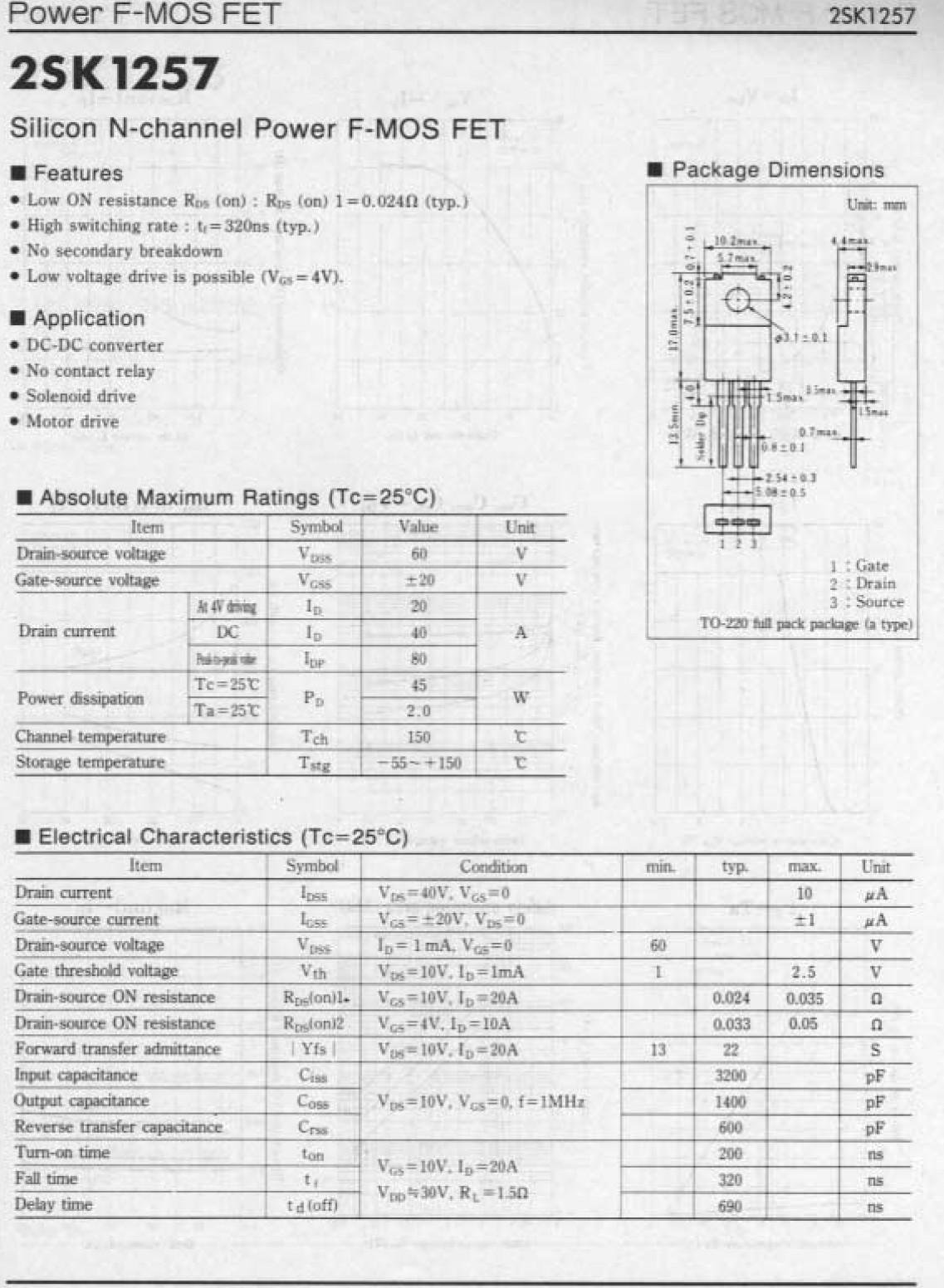 Tranzisztor N-MOSFET 60V 40A/80Ap 45W 0.024R 2SK1257 2SK1257