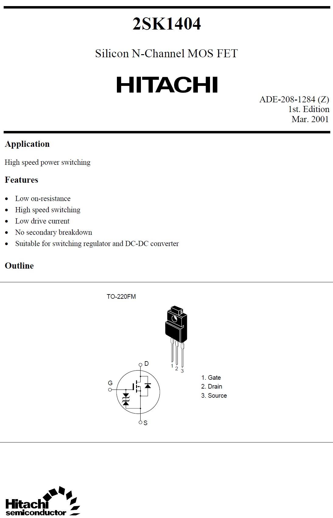 Tranzisztor N-MOSFET 600V 5A 35W <1.5R(2.5A) 2SK1404 2SK1404 -