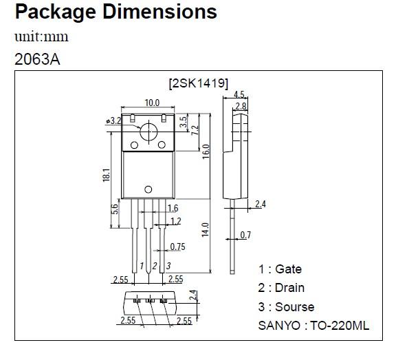 N-MOS 60V 25A 30W <0.045R(15A) 2SK1420 -