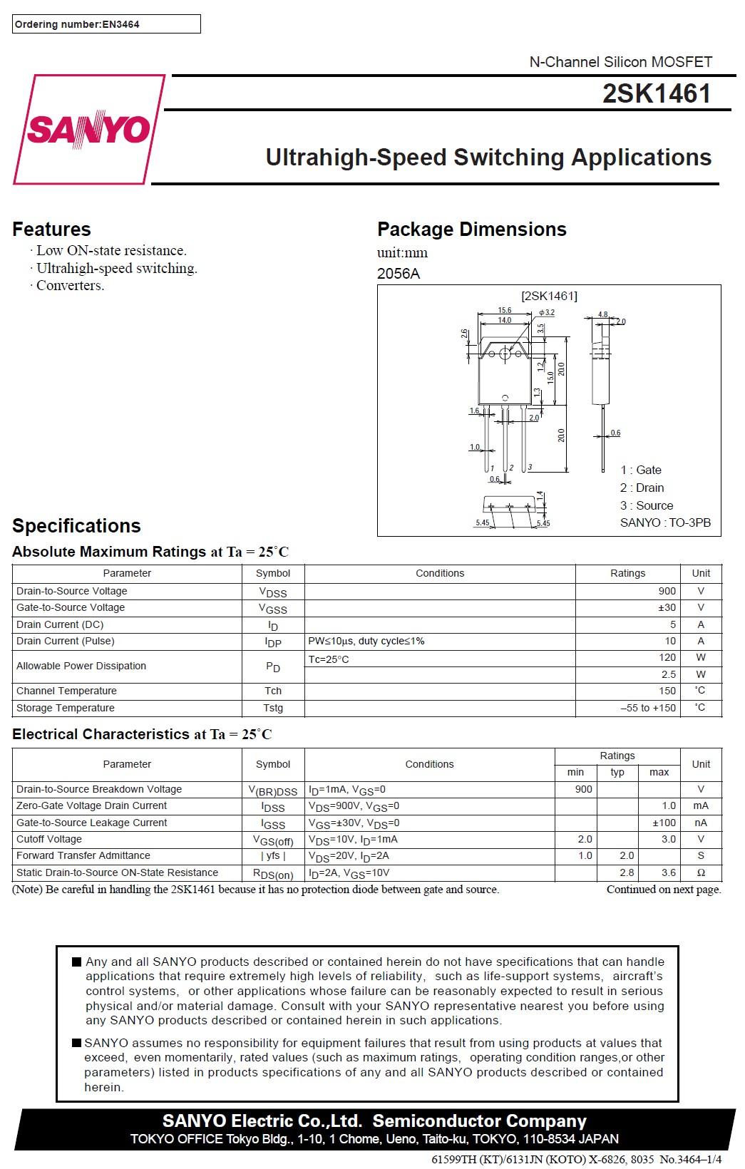 N-MOS 900V 5A 120W<3.6R(2A)S/L 2SK1461 -