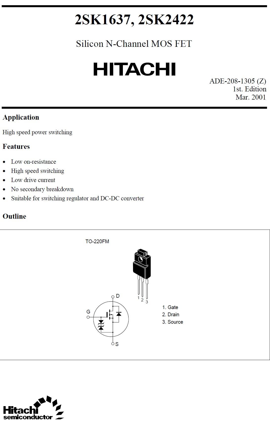 Tranzisztor N-MOSFET 600V 4A 35W <2.4R(2A) 2SK1637 2SK1637 -