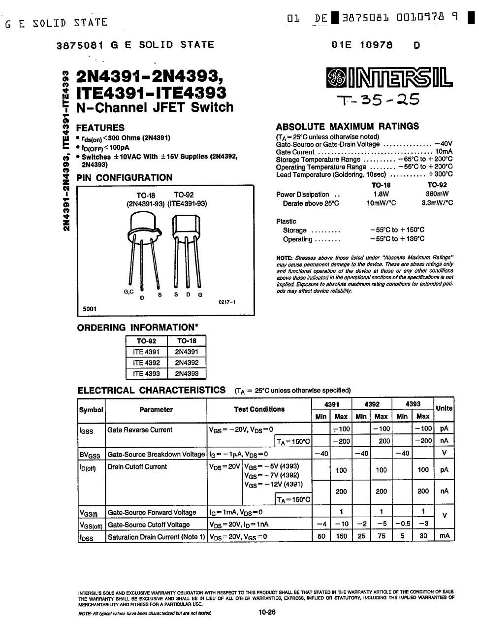 Tranzisztor N-FET 40V Idss>25mA Up<5V 2N4392 2N4392