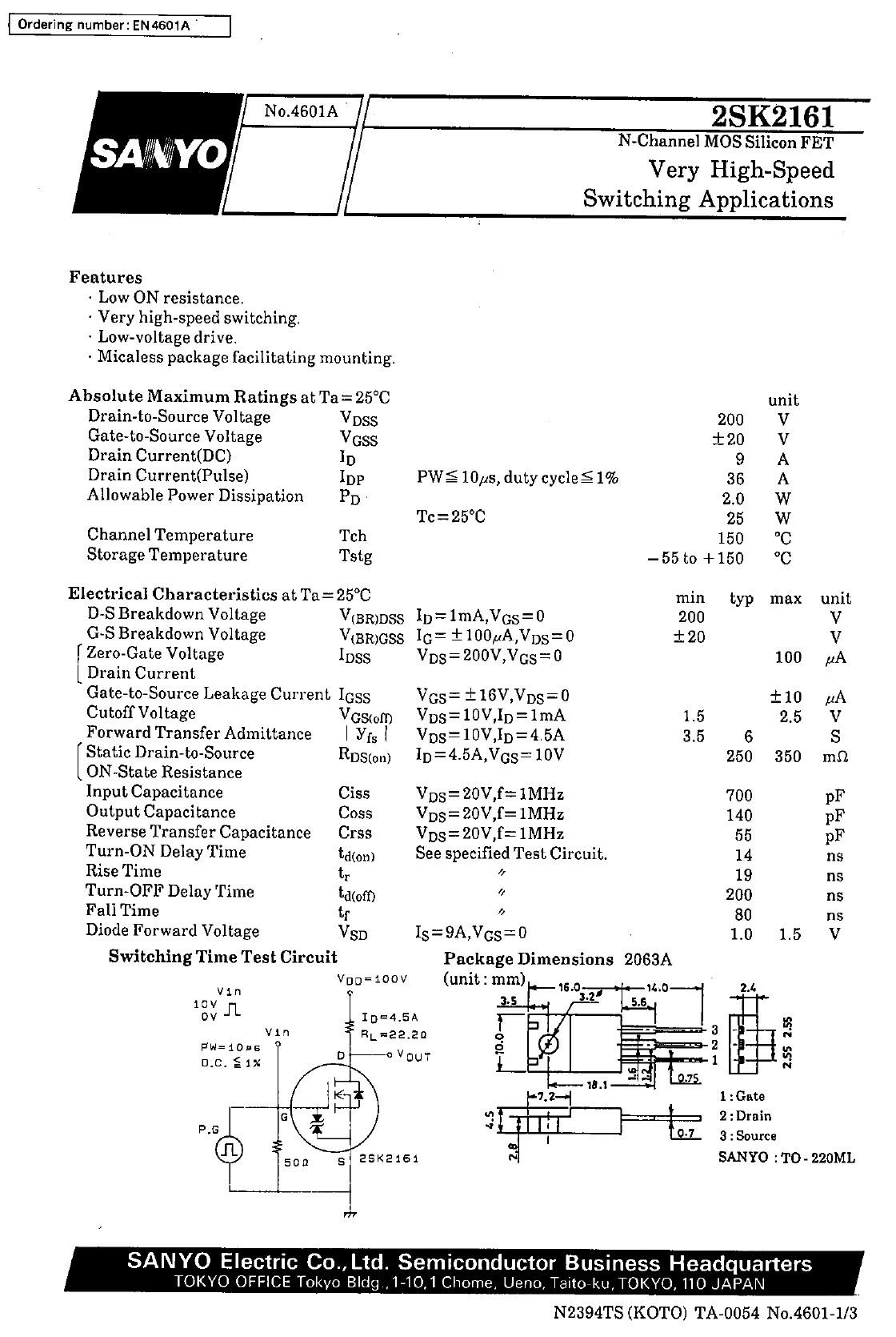Tranzisztor N-MOSFET 200V 9A 25W <0.35R(4.5A) 2SK2161 2SK2161 -