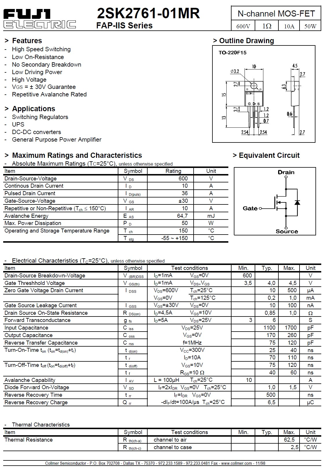 Tranzisztor N-MOSFET 600V 10A/36Ap 50W 1R (5.5A) 2SK2761 2SK2761 -