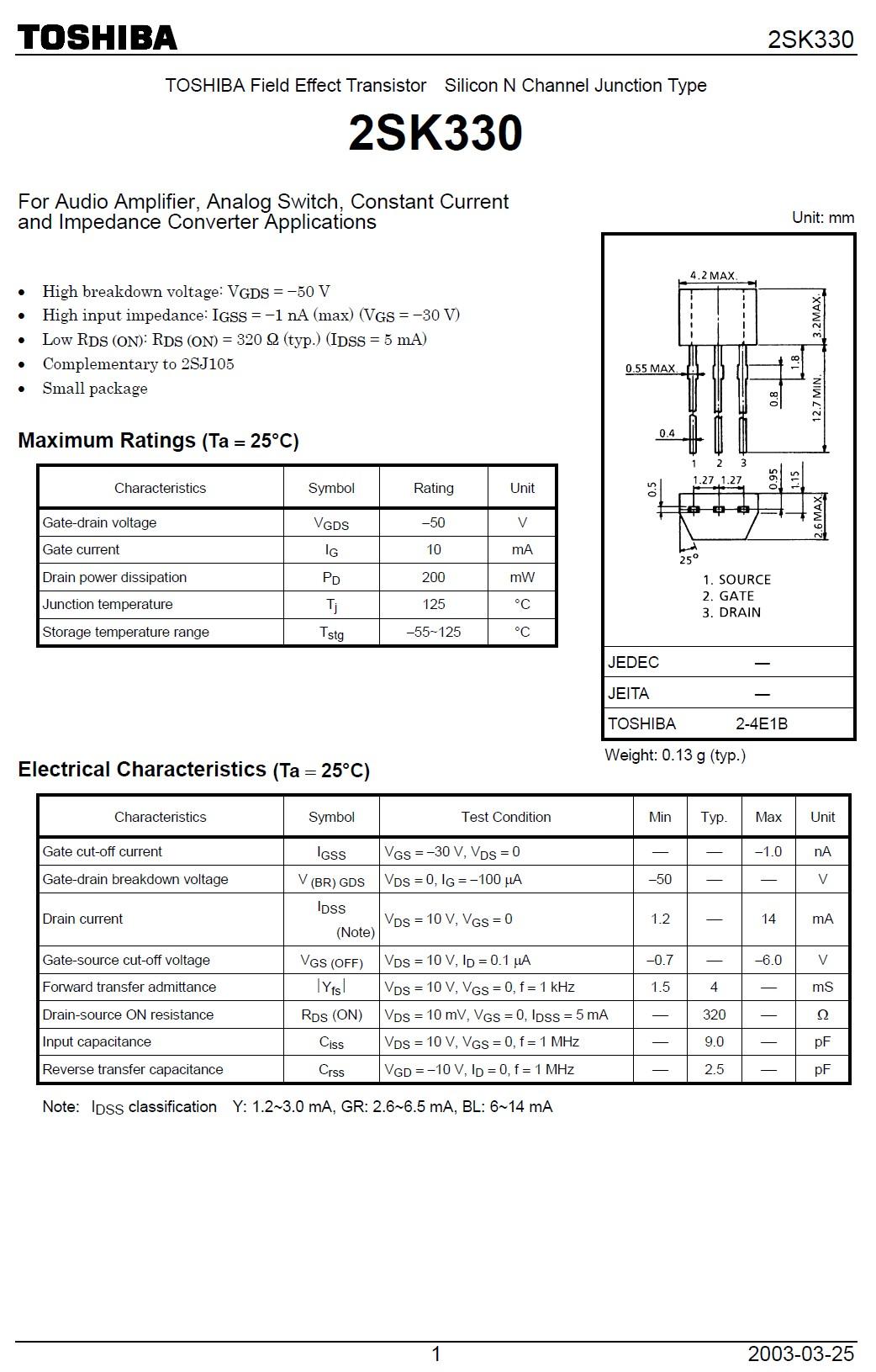 N-FET 50V Idss>1.2mA Up<0.6V 2SK330