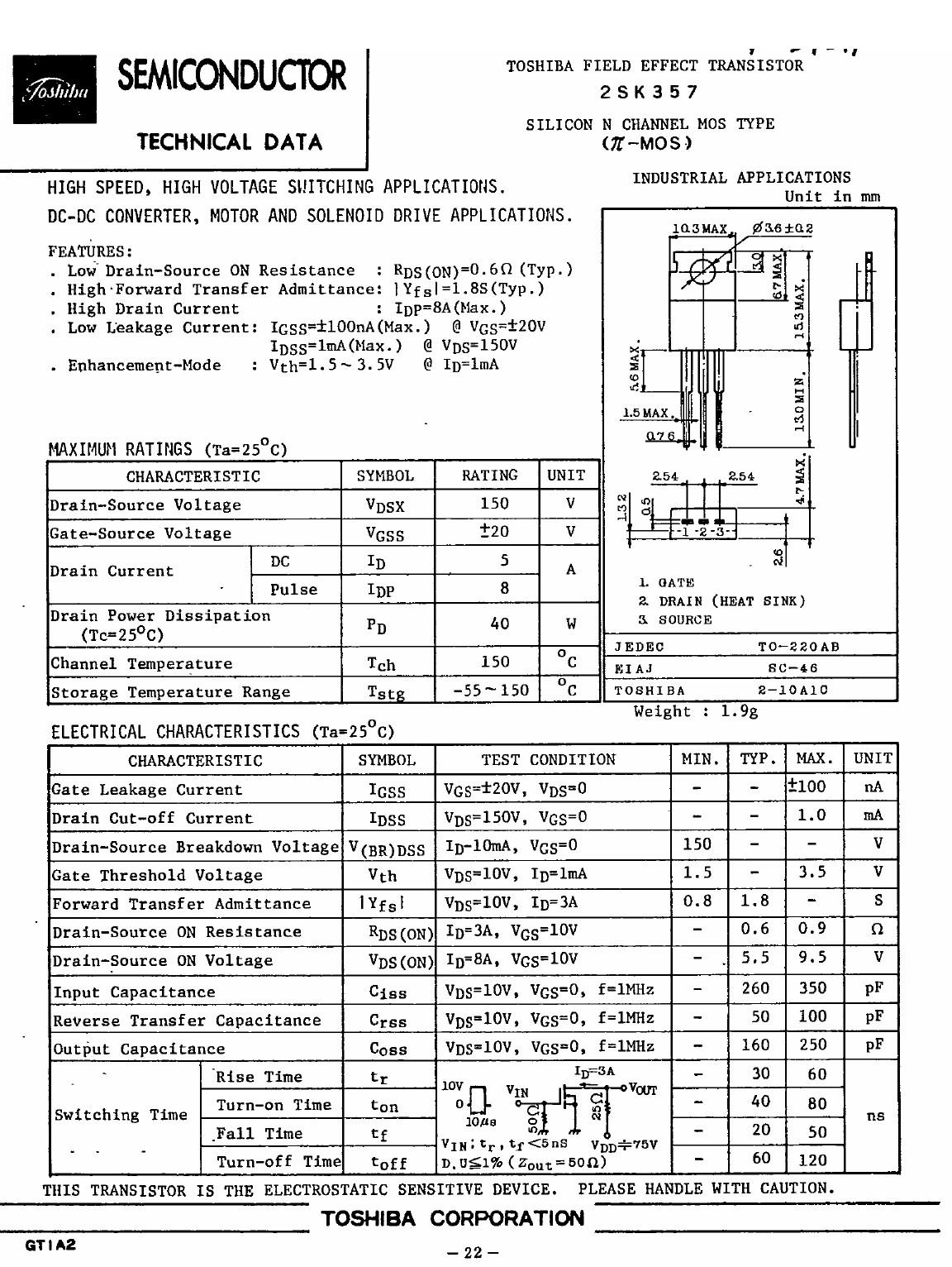 N-MOS 150V 5A 40W <0.9R(3A) 2SK357 -