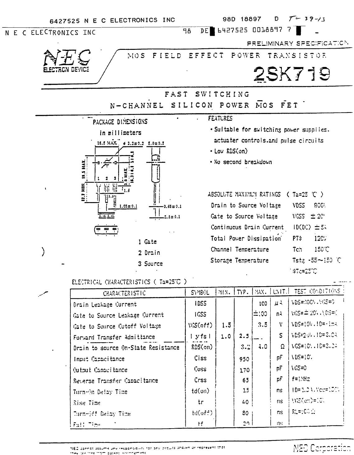 Tranzisztor N-MOSFET 900V 5A 120W <4R(3A) S/L 2SK719 2SK719