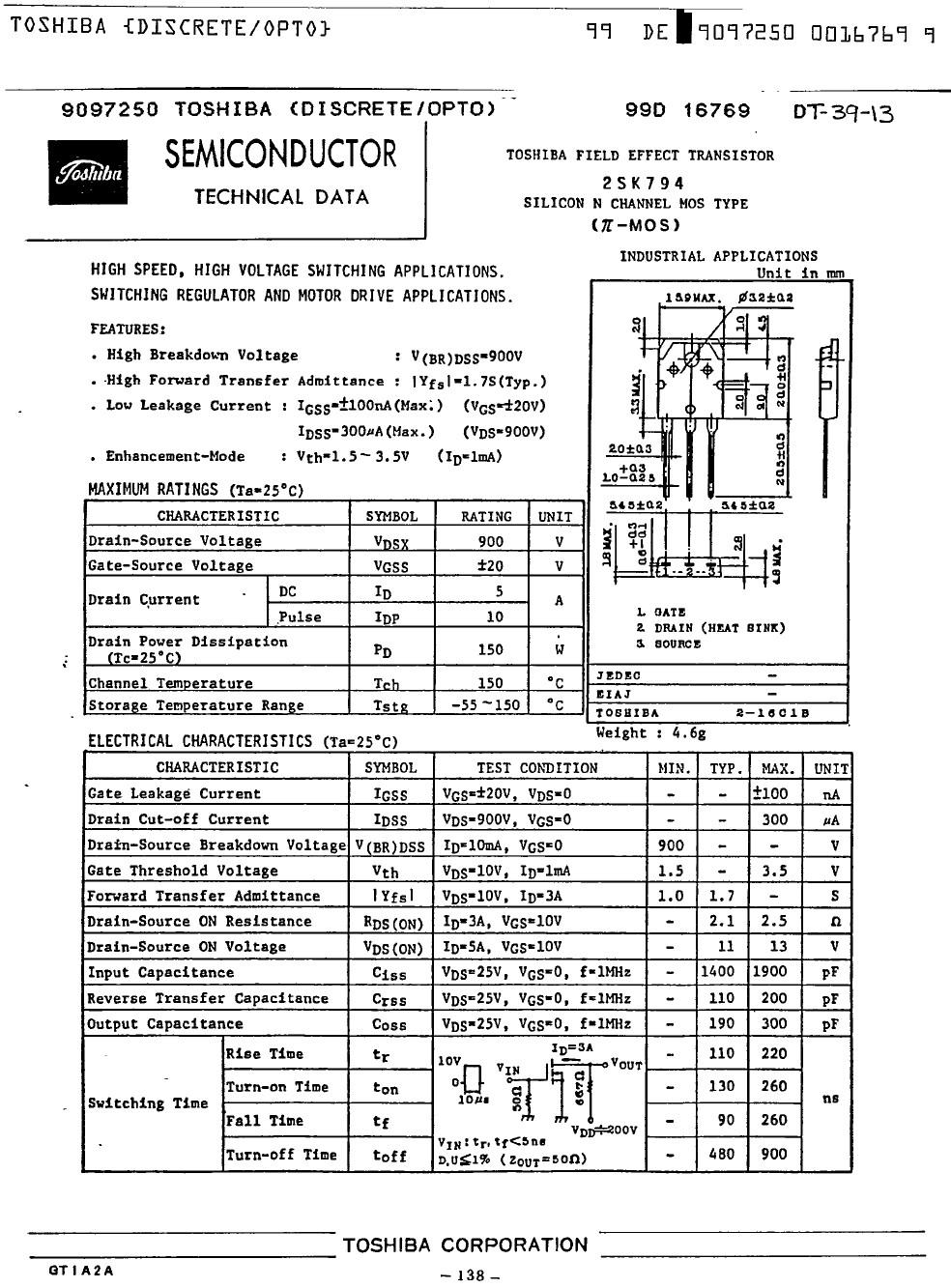 N-MOS 900V 5A 150W <2.5R(3A)SL 2SK794